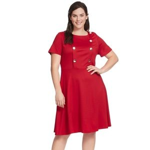 Eloquii Red Size 26 Faux Button Dress